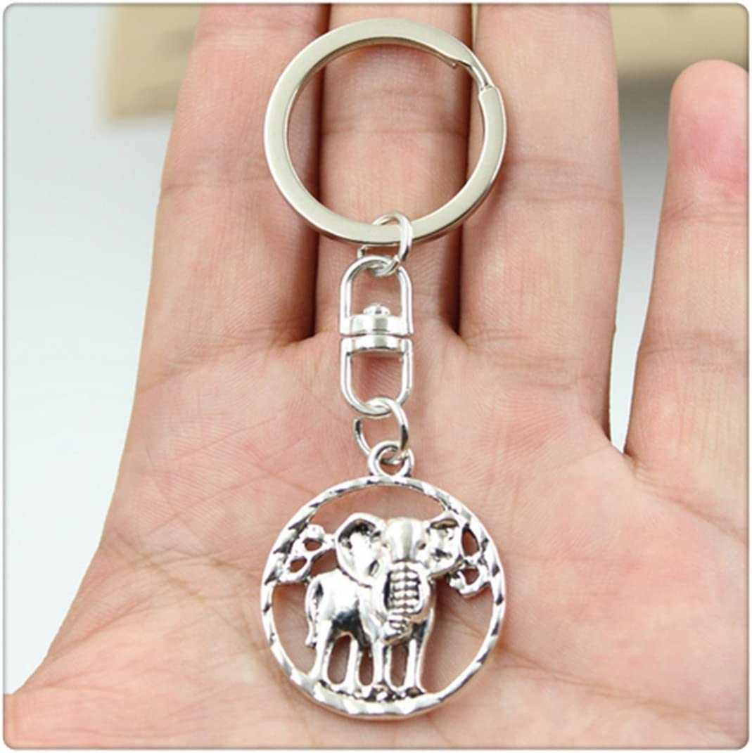 Vintage elephant Key Rings Fashion Car Keychain Silver Color Metal Key Chains Accessory
