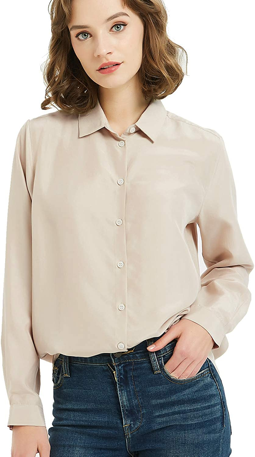 Women's 100% Silk Button V-Neck Down Long Sleeve Blouse Ladies Office Work Shirts  Tops at Amazon Women's Clothing store