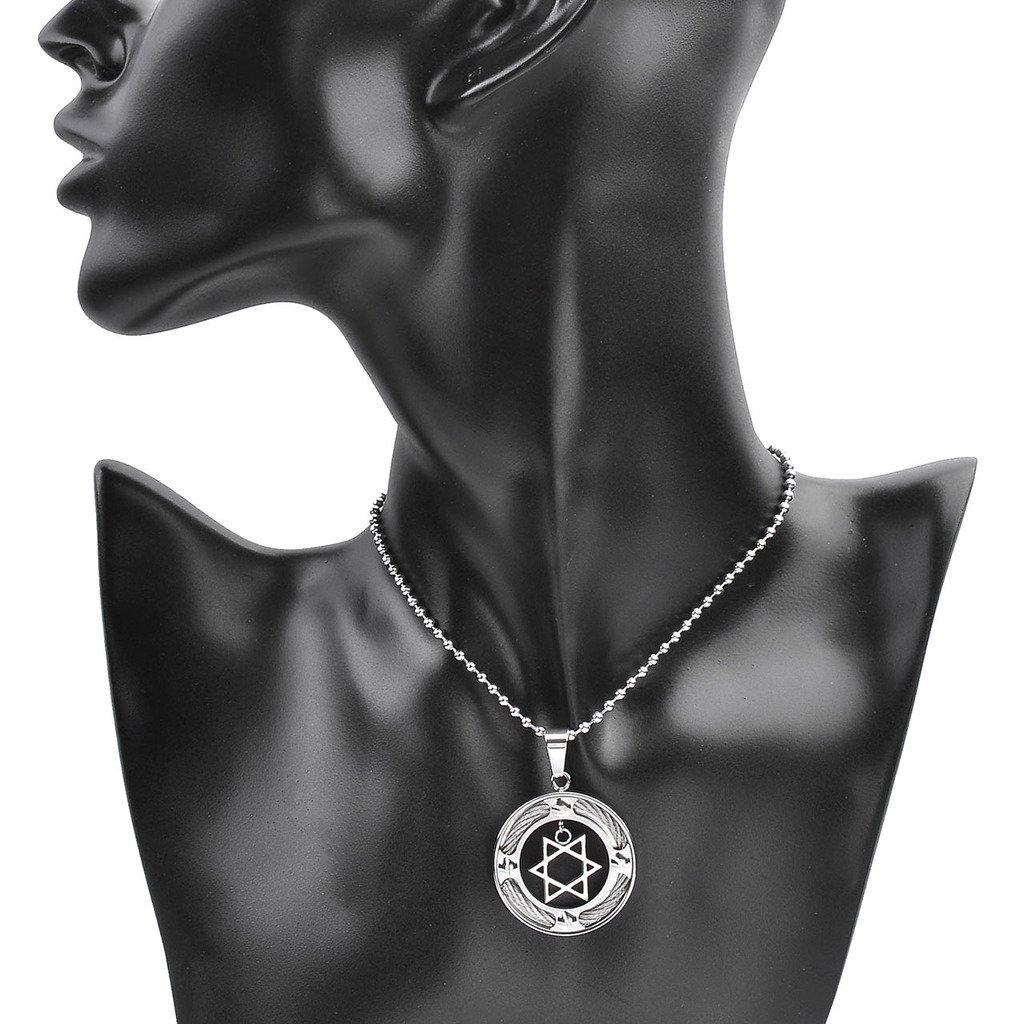 Zysta Collier de Pendentif Star of David/Étoile de David/Hexagramme Rond Juive Talisman Prière Couleur Argent en Acier Inox pour Homme Femme