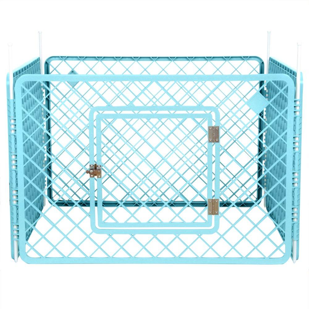 Iris Ohyama, parc pour chien / cage d'extérieur / enclos / chenil 4 éléments - Pet Circle - H-604, plastique, gris foncé, 6,3kg, 90 x 90 x 60 cm 531157
