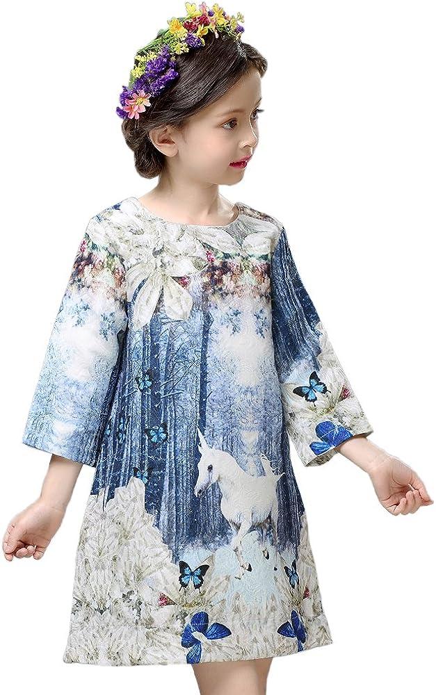Childdkivy Butterfly Princess Dress Infant Party Cloth Unicorn Print