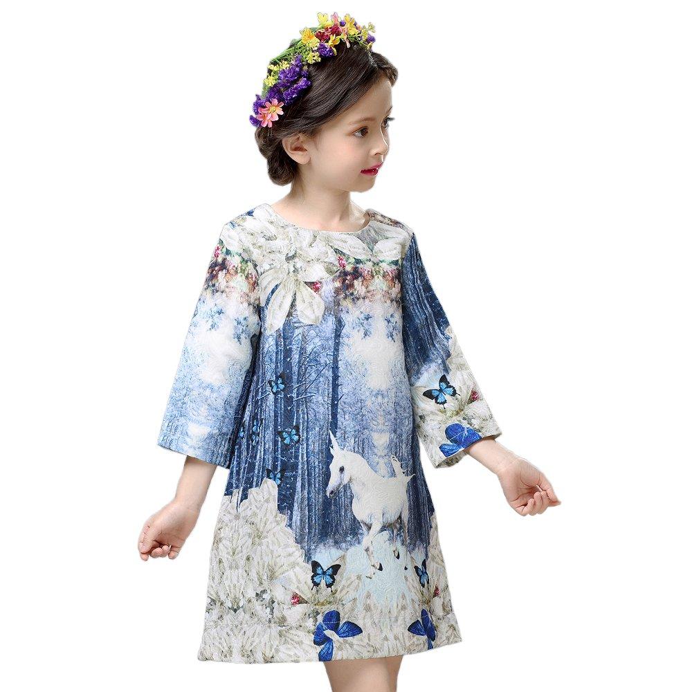 chliddkivy Childdkivy Butterfly Princess Dress Infant Party Cloth Unicorn Print (Unicorn, 6(5-6year))