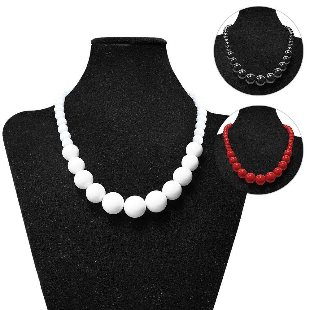 5d3ede12c1d7 Collar de perlas de acrílico rojo blanco   collar de cadena  Amazon.es   Joyería