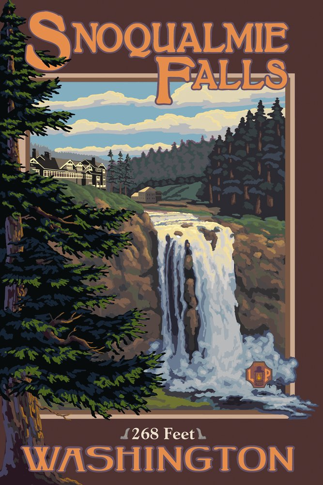 Snoqualmie Falls, Washington - Day (9x12 Art Print, Wall Decor Travel Poster)