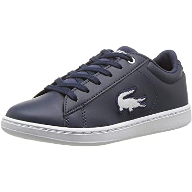 Lace Fastening Padded Lacoste Junior Carnaby Evo Trainers in Black Silver