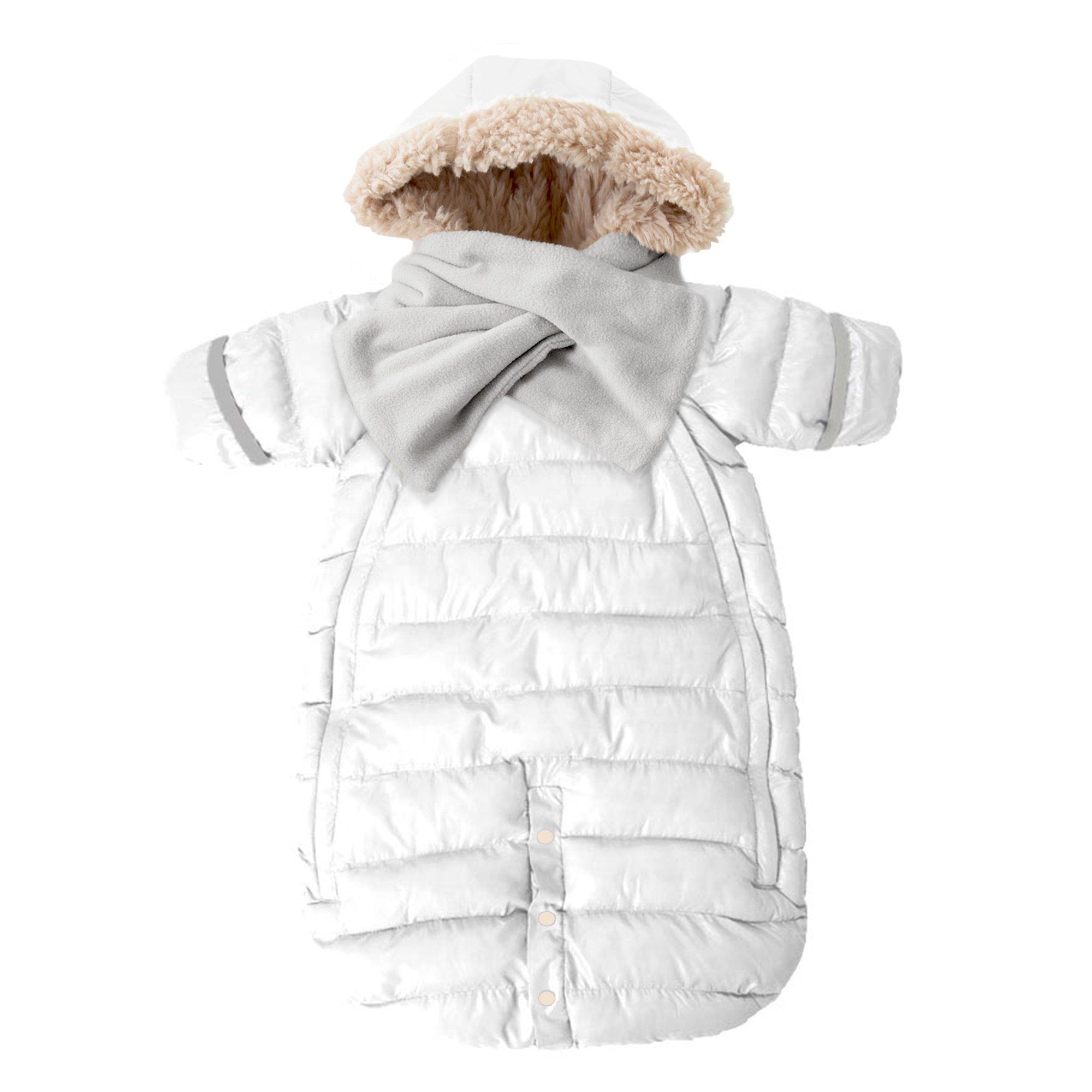 7AM Enfant Doudoune One Piece Infant Snowsuit Bunting, White, Large