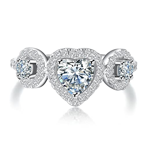 Amazon Com Superhai Classic Heart Shaped Diamond Ring Wedding Ring