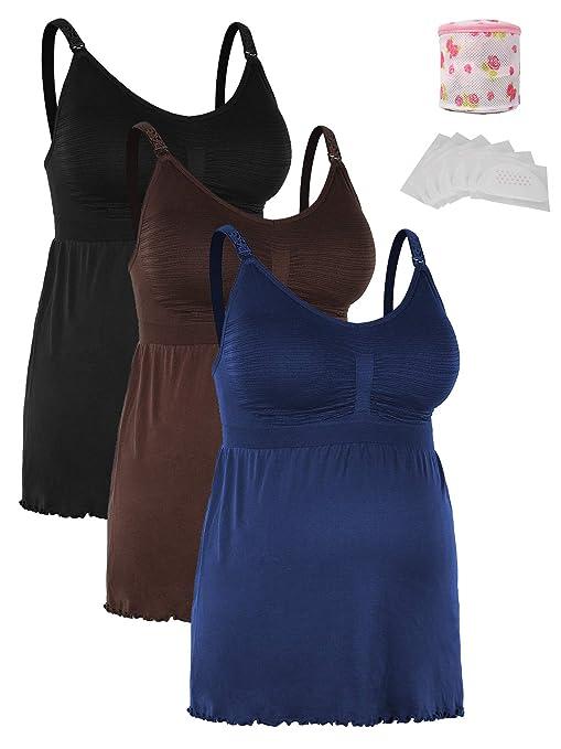 iLoveSIA Damen Still trägertops Ohne Bügel Umstandstops Schwangerschafts-Tops + Wäschesack + Anti-spillage BH-Pölster