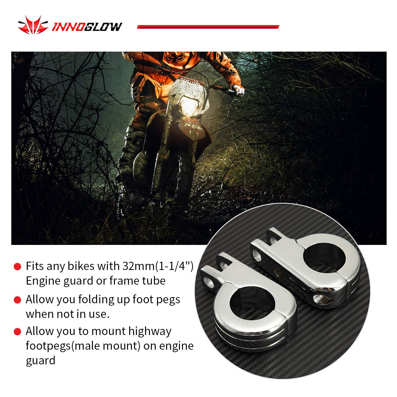1-1//4 INNOGLOW Motorcycle Foot Pegs Footrest Highway Footpegs Footboards Mounting Kit For With 32mm Engine Guard Frame Tube Harley Davidson Honda Yamaha Kawasaki Triumph Bobber Chopper Cafe Racer G0