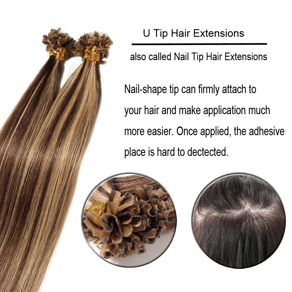 Amazon 100 Strands Glue Pre Bonded Fusion Human Remy Hair