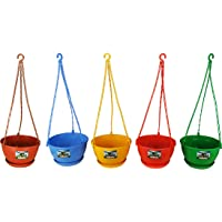 Easy Gardening 8 Inch Hanging Pots/Planters Red, Green, Yellow, Blue, Brown Color For Home Balcony