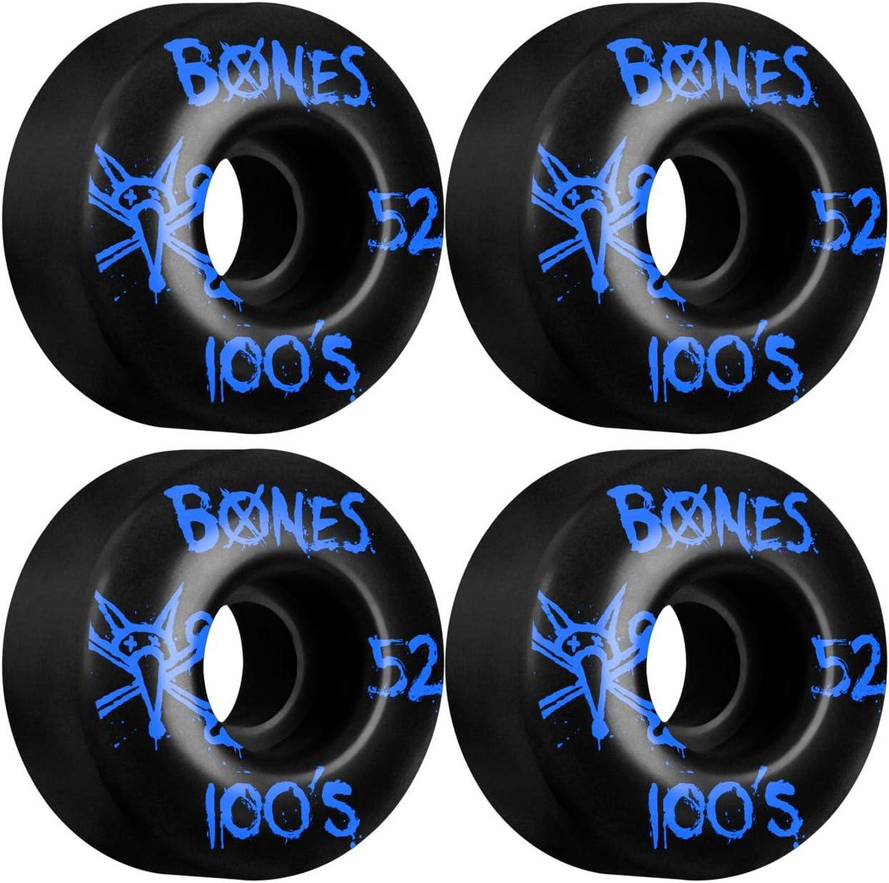 セットof Bones 100 ' sスケートボードWheels 52 mmブラック