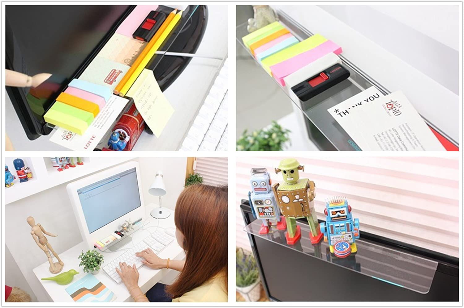 Excelity Fashion Computer Monitor Organizer Rack Transparent Message Board Sticky Board