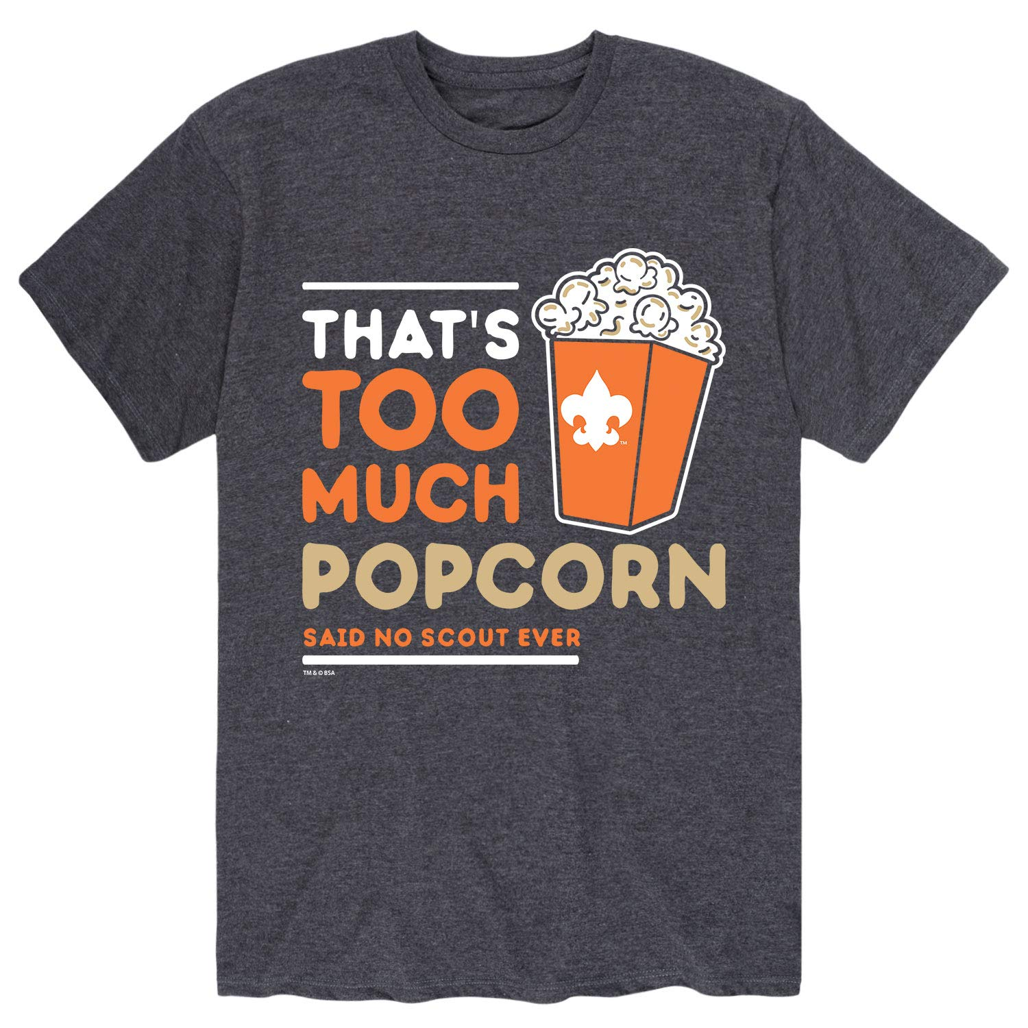 Boy Scouts of America Thats Too Much Popcorn - Adult Short Sleeve Tee Heather Charcoal by Instant Message