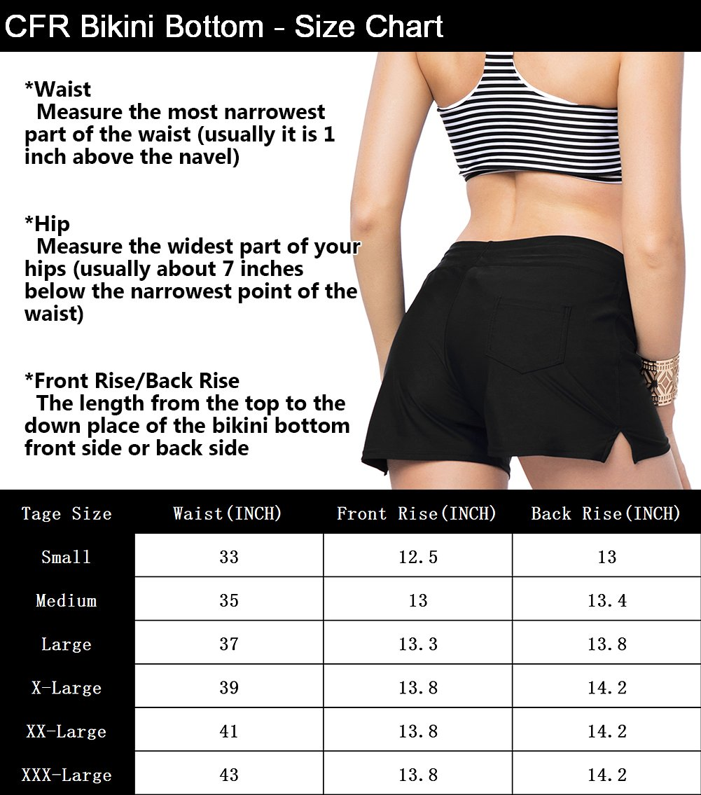 CFR Women's Wide Waistband Bikini Shorts Swimsuit Bottom Swimming Pants Beachwear with Adjustable Ties Black,XL UPS Post by CFR (Image #6)