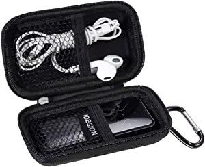 MP3 Player Case KINGTOP Durable Hard Shell Travel Carrying Case for MP3 MP4 Players,iPod Nano,iPod Shuffle,USB Cable,Earphones,Memory Cards,U Disk,Keys (Black)(3.9x2.0x0.43inch)