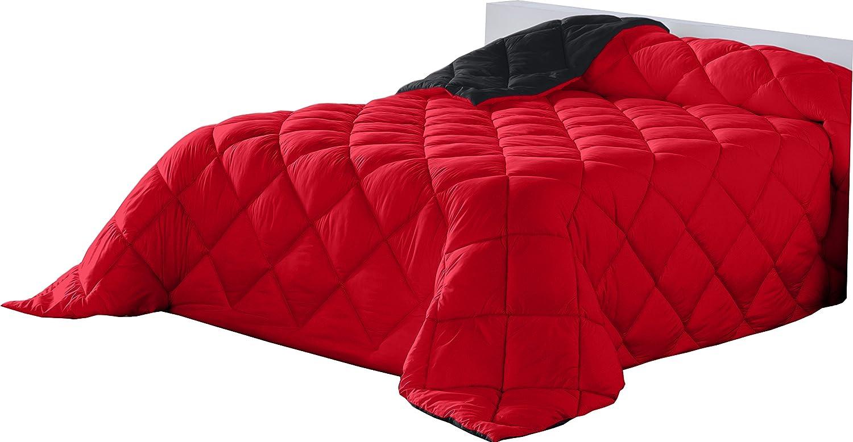 Lucena cantos el calor que no pesa Verwöhnen Sie die Wärme, die Keine Steppdecke, zweifarbig, 400 g, Rot Schwarz, für Bett 200, 300 x 270 cm