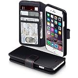 iPhone 6S Schutzhülle, Terrapin Leder Brieftasche Case Hülle mit Standfunktion Kartenfächer für iPhone 6 / 6S Hülle Schwarz mit Rot Nähend
