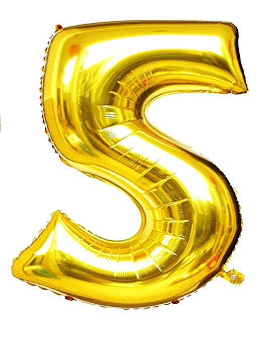 "1 opinioni per Langxun 40 ""Numero 5 Air-filled & Helium Gold Mylar palloncini per Compleanni"