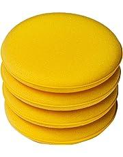 WildAuto Coche Esponja De Pulido Cera Almohadillas Aplicador De Cera Grande para Limpiar Coches Vehículo, Cristal, Zapatos (Amarillo 4PCS)