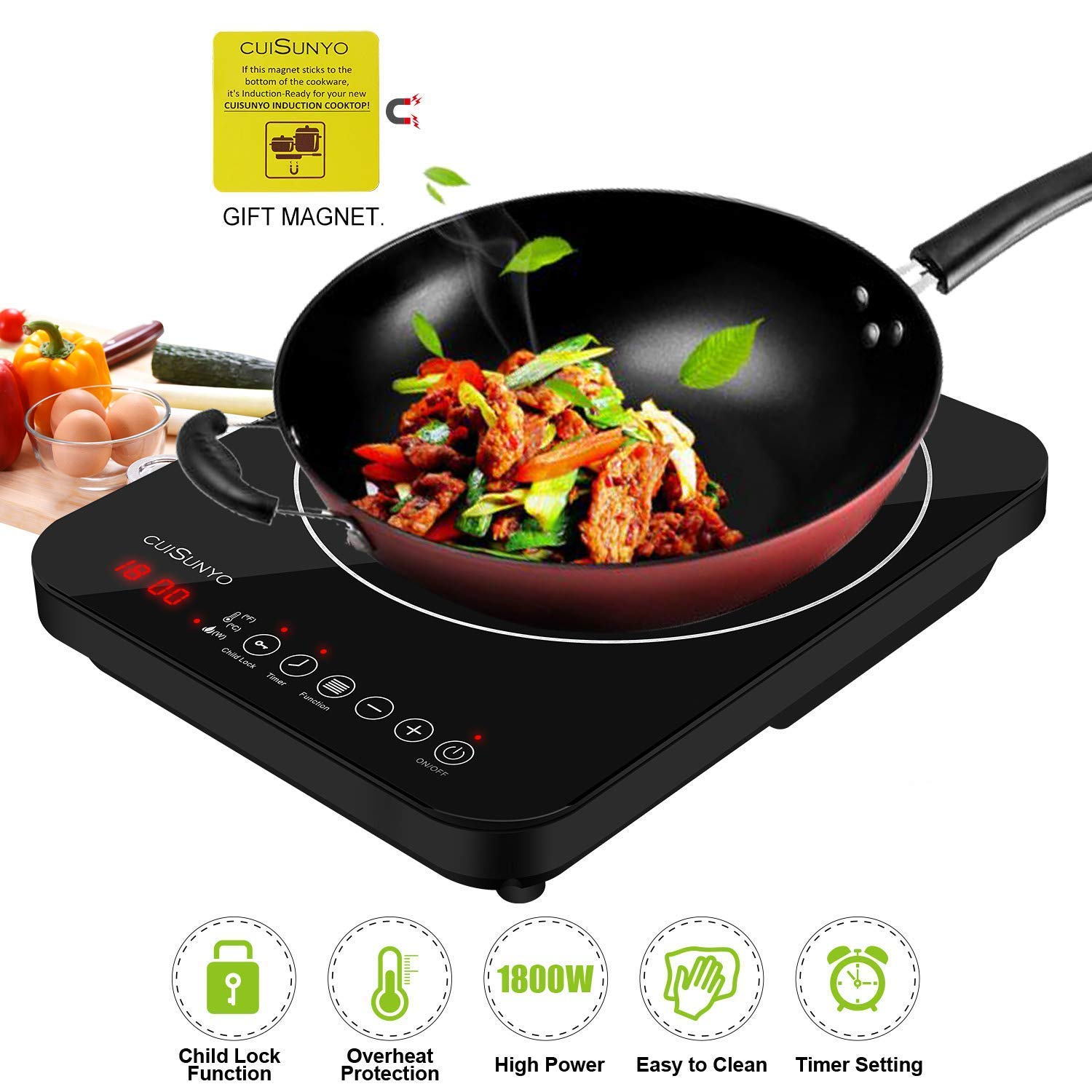 CUISUNYO Portable Induction Cooktop,1800W Countertop Burner with Digital Sensor and Kids Safety Lock, 11 Temperature Levels Suitable for Cast Iron Cookware