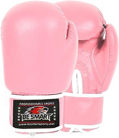 BeSmart Pro Leather Boxing Gloves,MMA,Sparring Punch Bag,Muay Thai Training Gloves Pink//White//Plain, 16 Oz