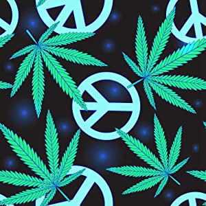 Uoopati DIY 5D Diamond Painting Set Colorful Hippie Cannabis Leafs and Peace Symbol Blak Green Rasta Sign Weed Drug Round Drill Rhinestone Embroidery Arts Craft for Home Wall Decoration, 16x16 Inch
