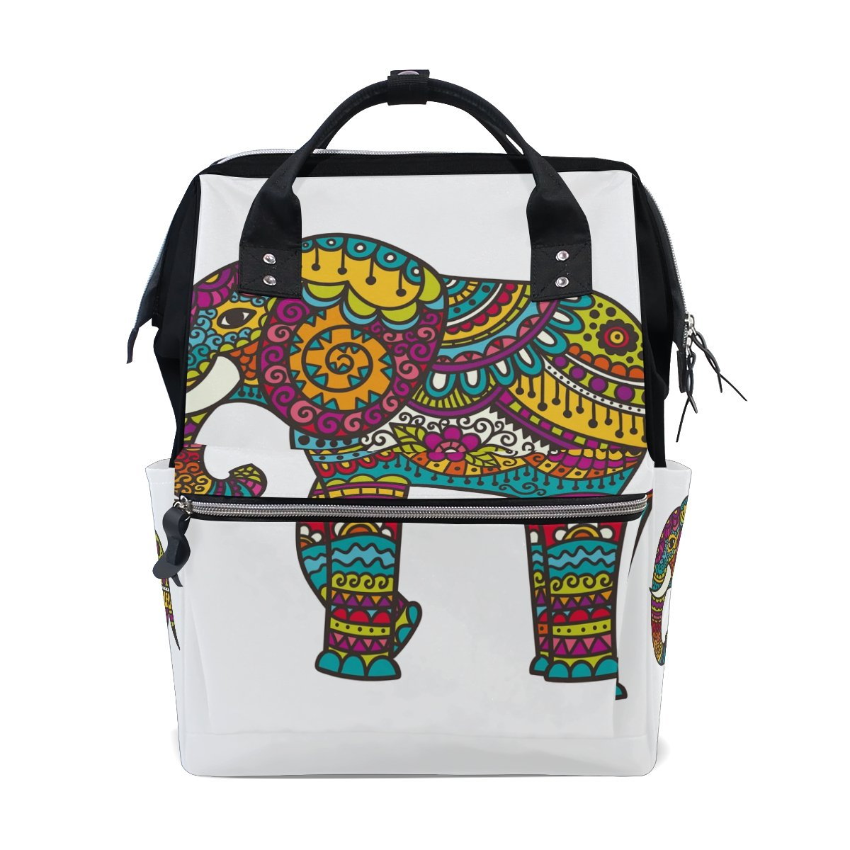 JSTeLノートカレッジバッグ学生旅行Elephantフラワースクールバックパックショルダートートバッグ   B078MJ7719