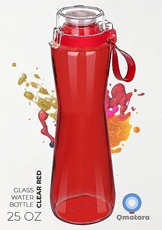 Amazon.com: Qmatara - Botella de agua de cristal con tapa de ...