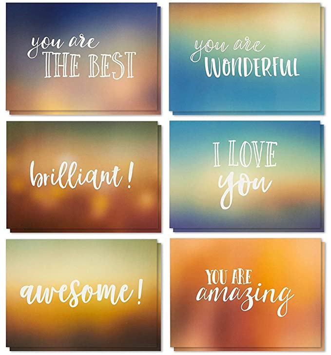 36 Pack Motivational Encouragement Greeting Cards 6 Handwritten Modern Artistic Style Colorful Designs Bulk Box Set Variety