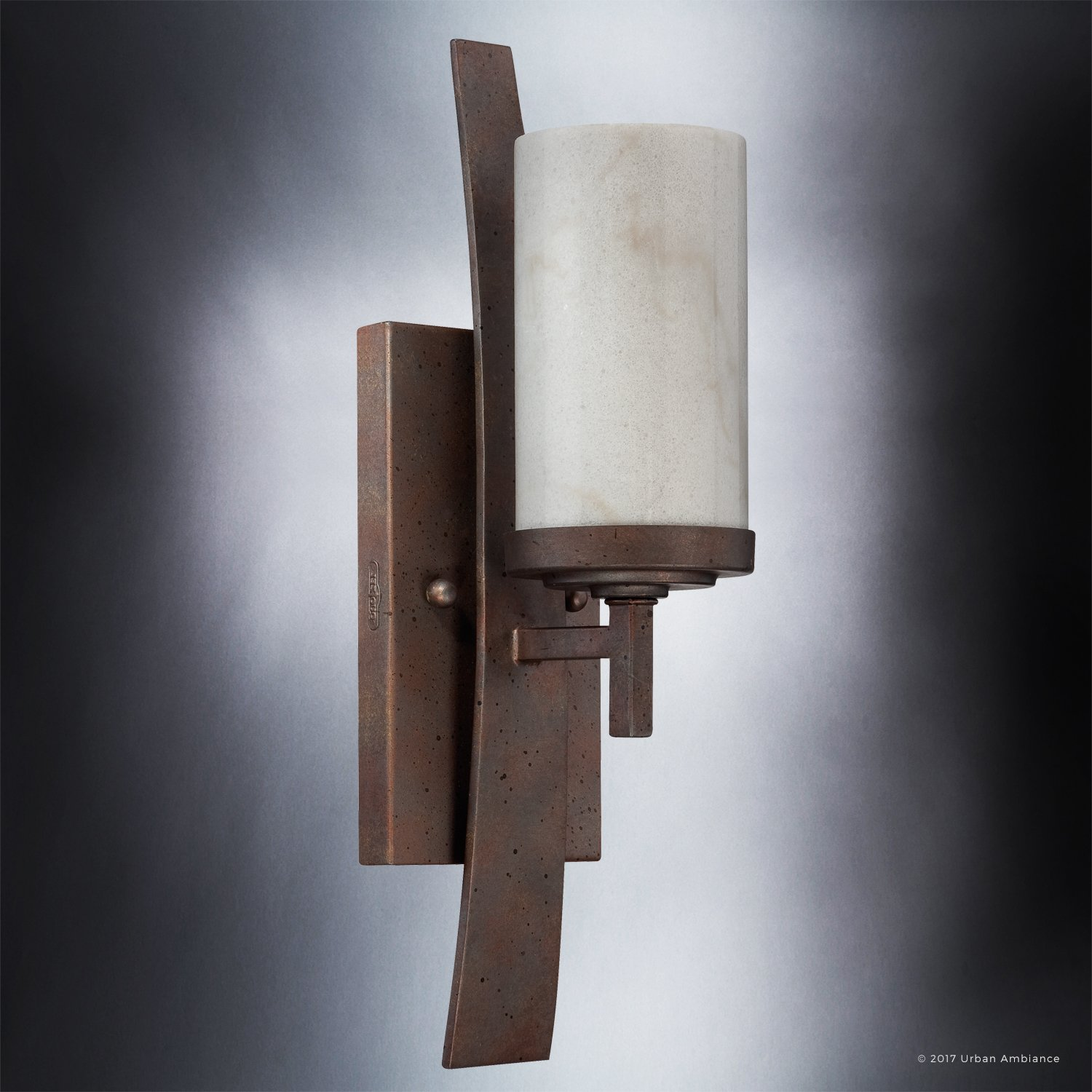 Luxury Rustic Indoor Wall Light, Medium Size: 16''H x 4.5''W, with Craftsman Style Elements, Banded Wrought Iron Design, Forged Iron Finish and White Onyx Stone Shades, UQL2420 by Urban Ambiance by Urban Ambiance (Image #3)