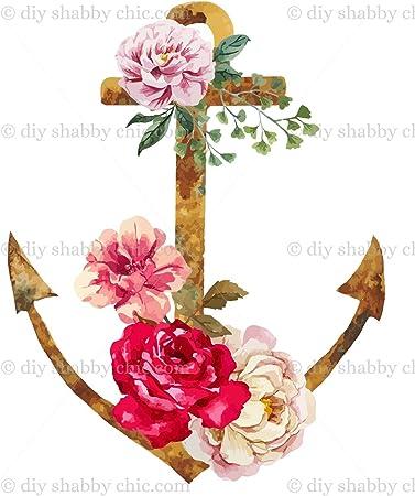 Mobel Holz Aufkleber Bild Transfer Vintage Antik Etiketten Floral Anchor Diy Amazon De Baumarkt