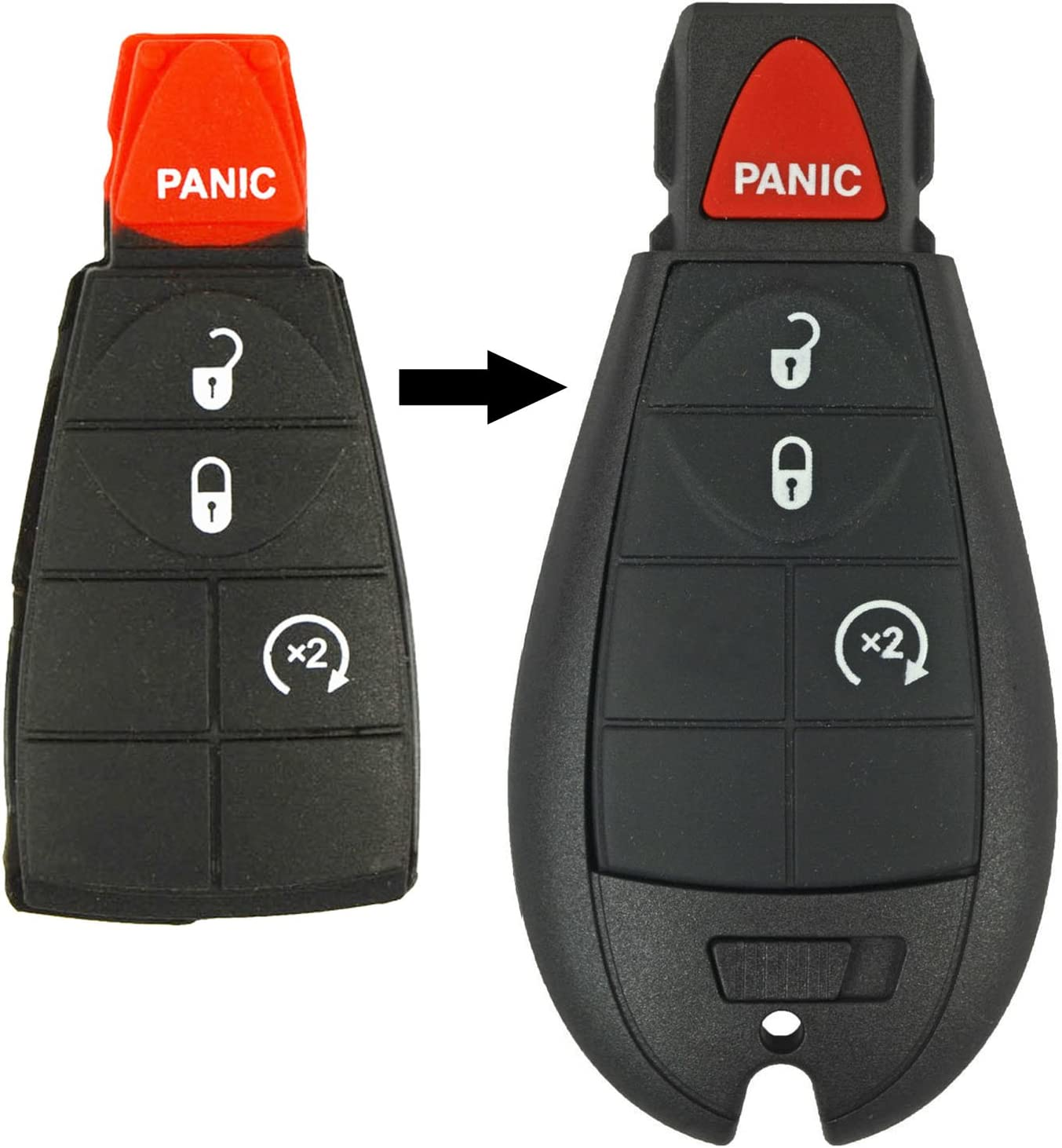 qualitykeylessplus Two Replacement 4 Button Remote Rubber Pads for Chrysler Dodge Jeep Fobik Remotes with Free KEYTAG