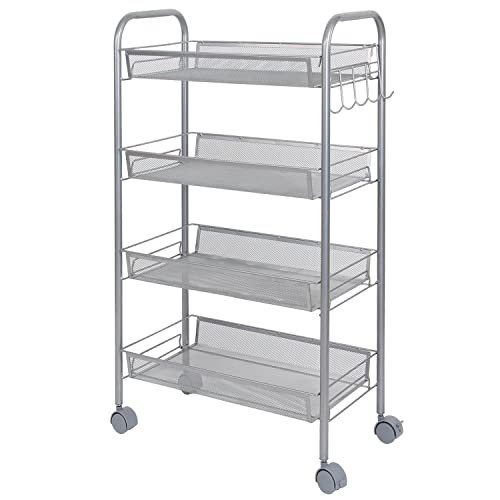 Lifewit Metal Mesh Storage Units Rolling Cart with 4 Baskets, Shelf Trolley for Office, Kitchen,etc.