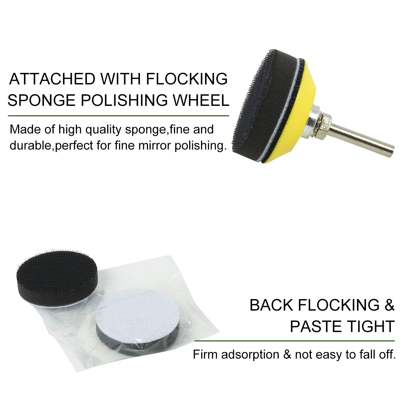 One 1//4 Shank Backing Pad and 2 Soft Foam Buffering Pads for Wood Metal Polishing 2 Hook Loop Sanding Discs Assortment Kit 100pcs Multiple Grits Abrasive Sandpapers 103pcs