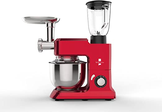 The Deluxe Line | 3 en 1 robot de cocina máquina de picar carne Licuadora – Amasadora | Masa para hacer pan 6,5 litros, 3,5 kg, Rojo: Amazon.es: Hogar