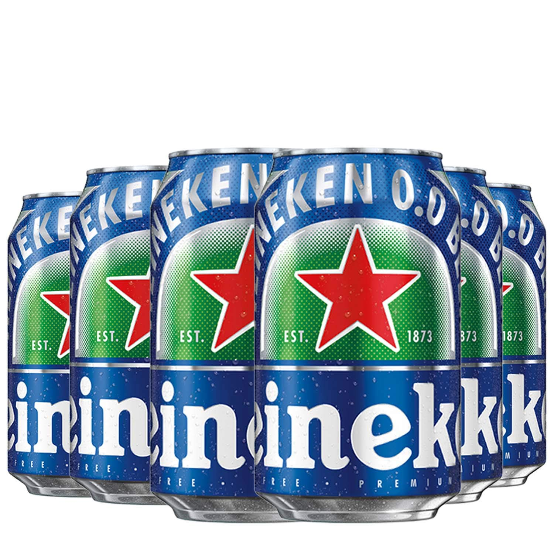Heineken 0.0 % Non Alcoholic Lager Beer Zero Dot Zero Can - 6 Pack, 6 x 330 ml