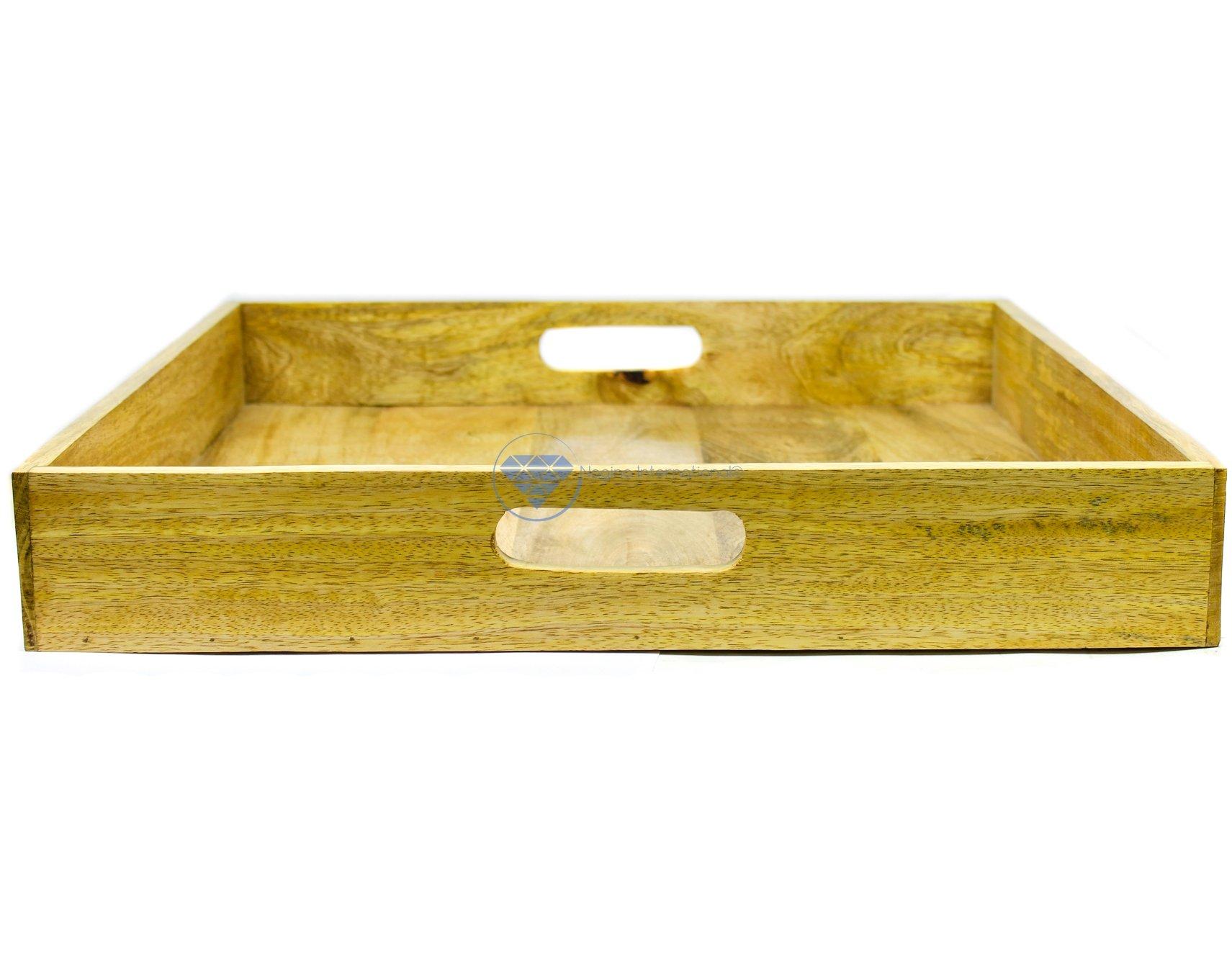 Square Kitchen Serving Tray | Wooden Decor Racks| Nagina International (36 Inches)
