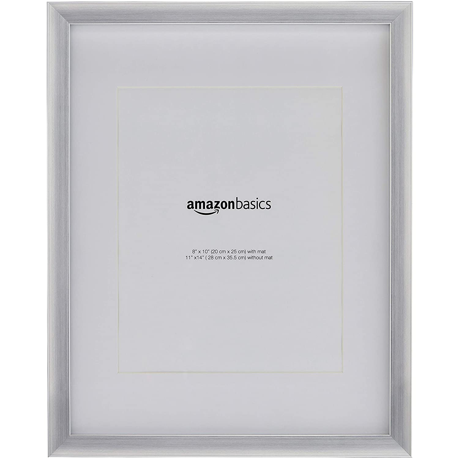 "AmazonBasics Photo Frame with Mat - 11"" x 14"" matted to 8"" x 10"", Nickel, 2-Pack"