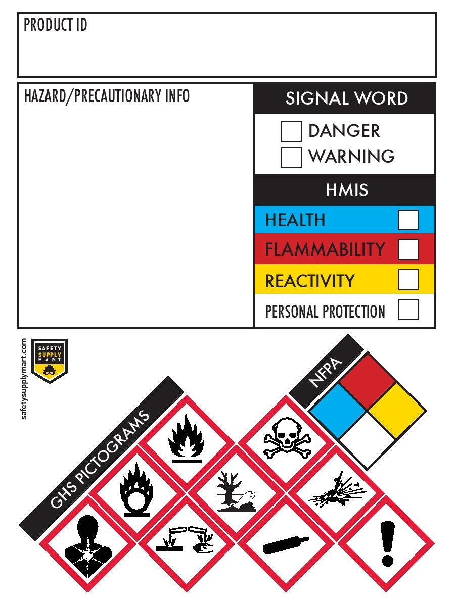 GHS Secondary Container Labels/Stickers, 250 per Roll, 3 x 4 inch, Tough Tear-Proof, Chemical Identifying and Marking for HMIS, HMIG, NFPA, MSDS, and SDS by Safety Supply Mart