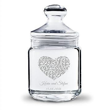 Personello® Keksglas Graviert Mit Namen Und Datum, Herz Motiv, (Motive Und  Größen