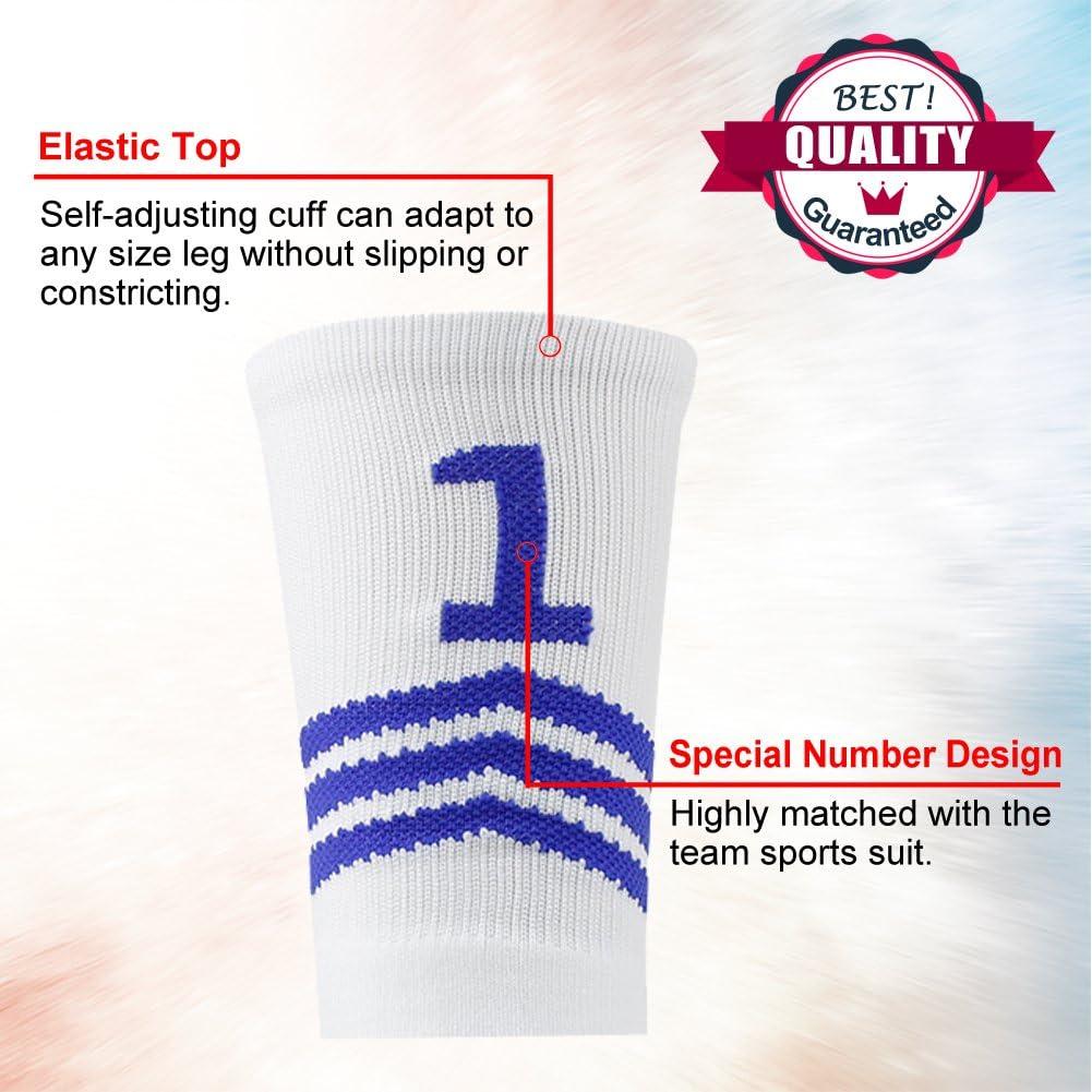Funcat Gepolsterte ID-//Baseball-Socken 1 Paar Fu/ßballmannschaftsnummer