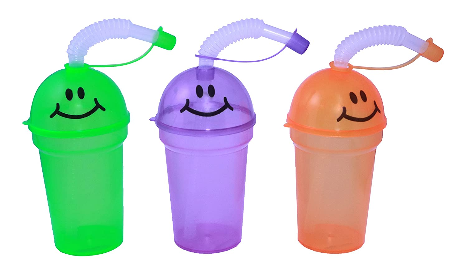 12 Pack SNInc. Smiley Face Mini Sipper Cups With Lids And Straws
