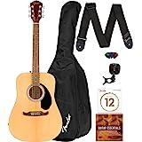 Fender FA-125 Dreadnought Acoustic Guitar - Natural Bundle with Gig Bag, Tuner, Strap, Strings, Picks, and Austin Bazaar Inst