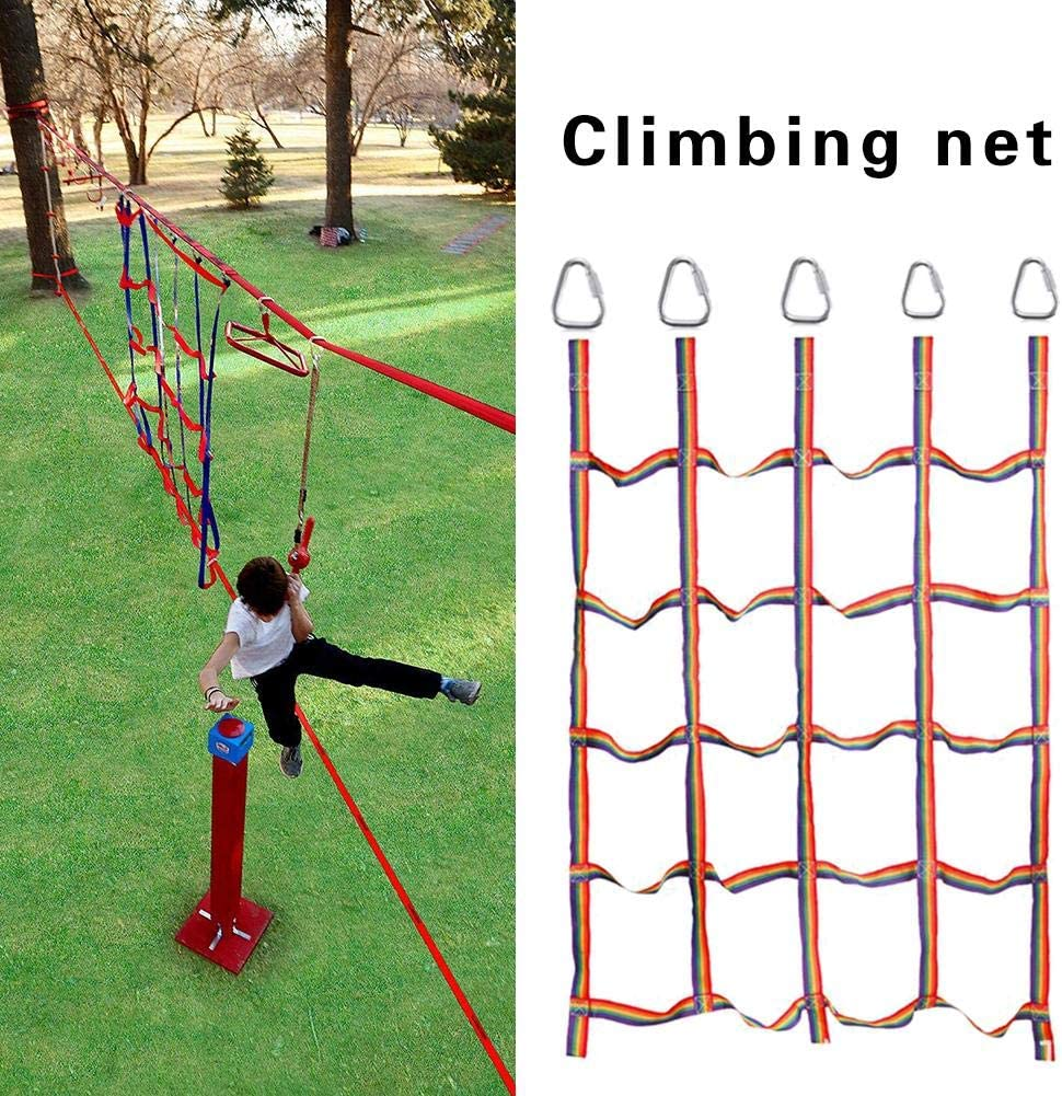 succeedw Rainbow Ribbon Net Physical Training Climbing Net For Kids Garden Climbing Frame For Daily Sports And Entertainment