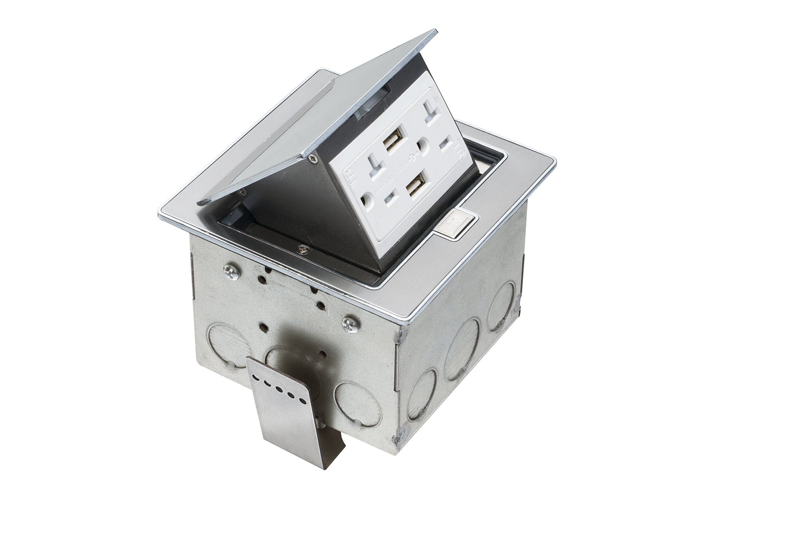 Arlington FLBT440USS-1 Countertop Trapdoor Cover Box Kit with 2 USB Ports and 20-Amp TR Receptacle, Stainless Steel, 1-Pack
