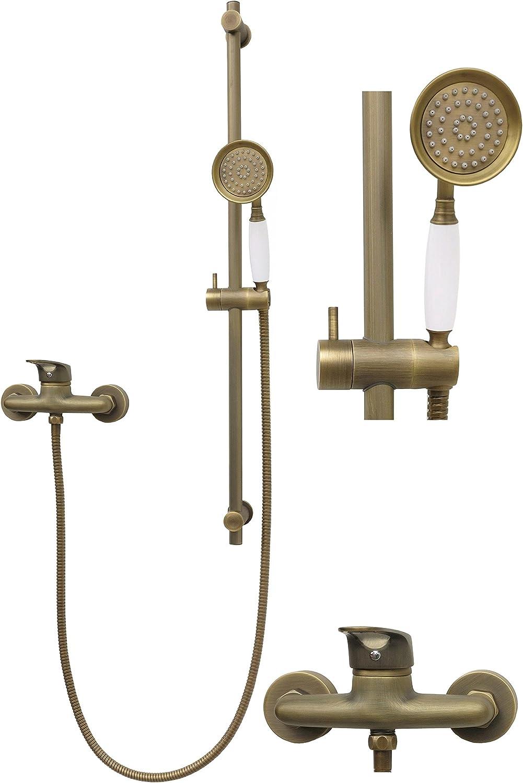 Retro Douche Ensemble de douche Set de douche barre de douche 80 cm Support variable Barre de douche mitigeur de douche douchette Robinet mitigeur