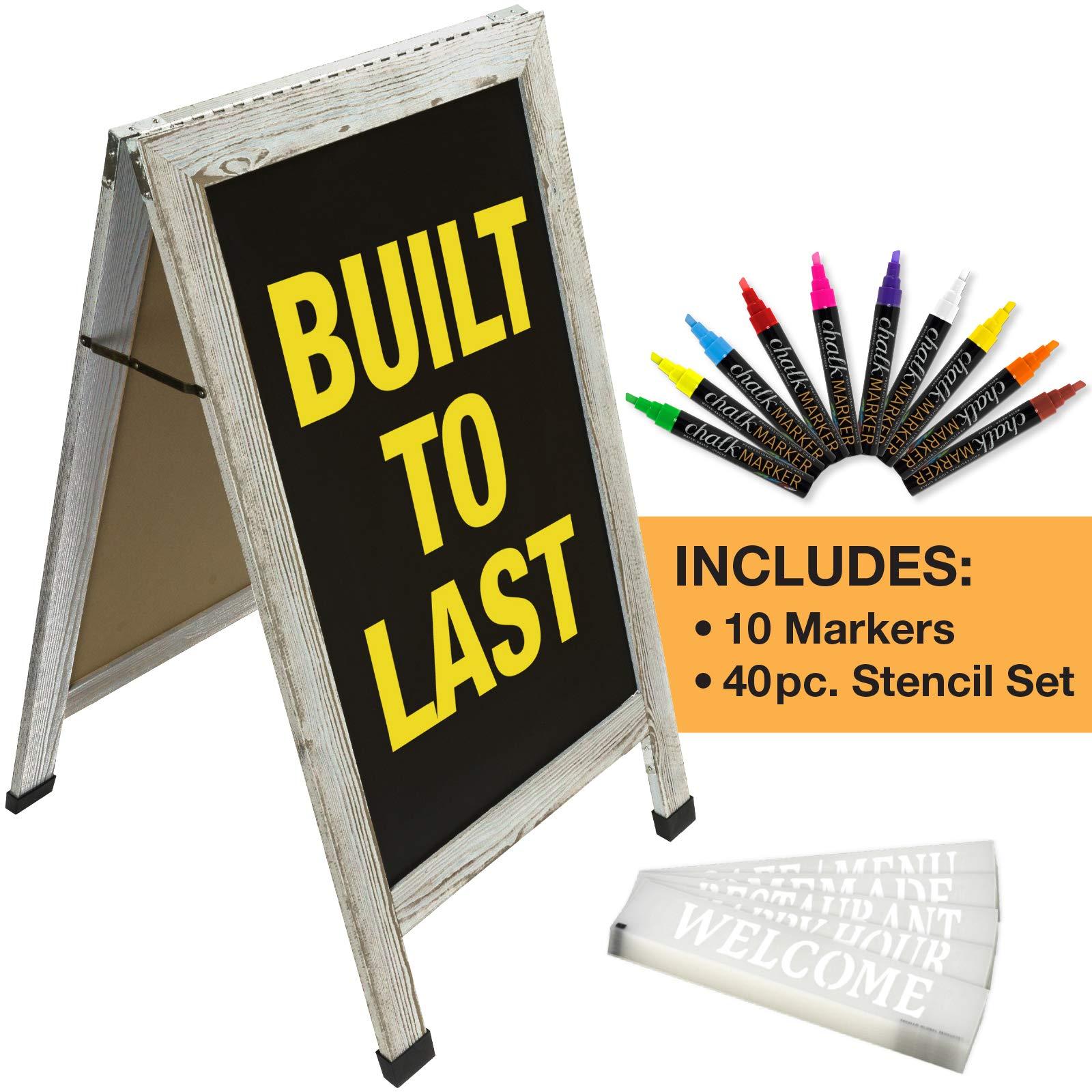 Sandwich Board Sidewalk Chalkboard Sign: Reinforced, Heavy-Duty / 10 Chalk Markers / 40 Piece Stencil Set/Chalk / Eraser/Double Sided/Large 40x22 Chalk Board Standing Sign A-Frame (6 - White)