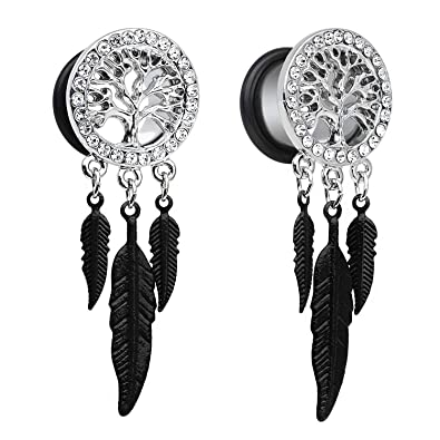 ca859723641dc TOPBRIGHT Surgical Steel Tree of Life Feather Dangle Plug Earring Flesh Ear  Gauges Ring Tunnels