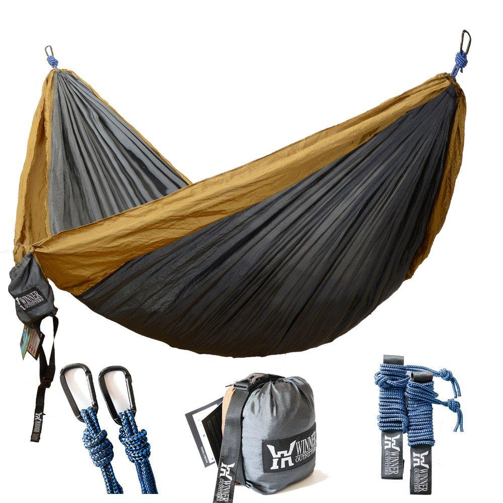 WINNER OUTFITTERS Double Camping Hammock - Lightweight Nylon Portable Hammock, Best Parachute Double Hammock for Backpacking, Camping, Travel, Beach, Yard. 118''(L) x 78''(W)
